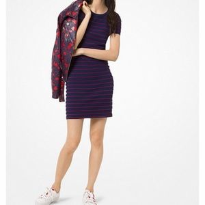 Michael Kors, Blue with Red Ruffle Stripe Dress